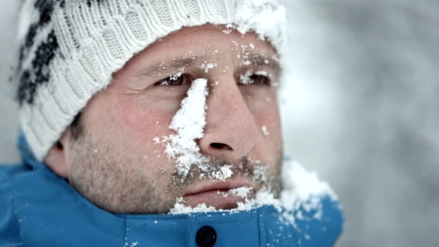 HD Super Slow-Mo: Man's Face Covered With Snow video