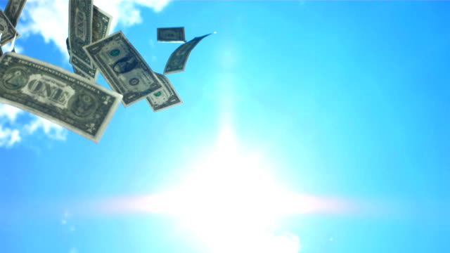 HD Super Slow-Mo: Money Falling From The Sky video