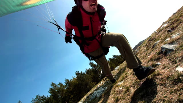 HD Super Slow-Mo: Paraglider Taking Off