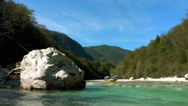 HD Super Slow-Mo: People Rafting On The River video