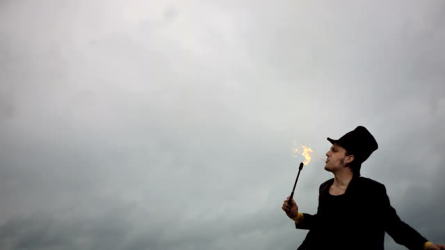HD Super Slow-Mo: Performer Breathing Fire video