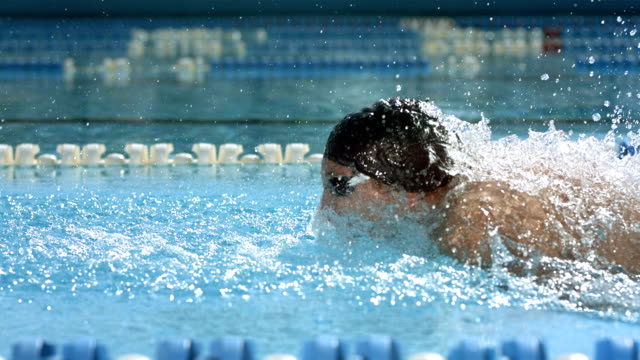 HD Super Slow-Mo: Professional Swimmer Swimming Butterfly Stroke video