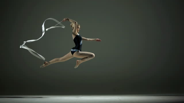 HD Super Slow-Mo: Rhythmic Gymnastics Action With A Ribbon video