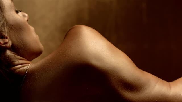 HD Super Slow-Mo: Sensual Woman In Sauna video