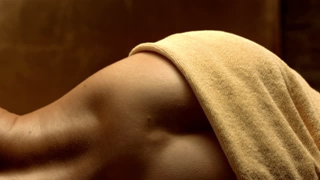 HD Super Slow-Mo: Sensual Woman Lying In Sauna video