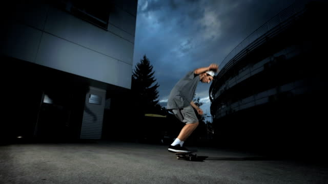 HD Super Slow-Mo: Skater Doing Variable Flip Trick video