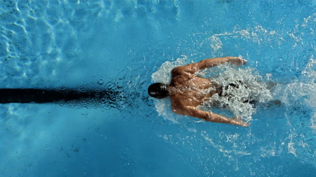 HD Super Slow-Mo: Swimmer Performing The Butterfly Stroke HD1080p: Super Slow Motion High-Angle shot of a professional swimmer training the butterfly stroke in the lap pool. Recorded at 500 fps swimming stock videos & royalty-free footage