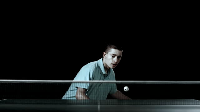 HD Super Slow-Mo: Teenager Playing Table Tennis video