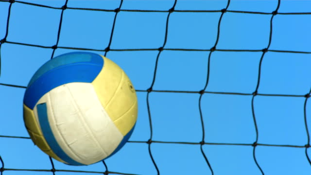 hd super slow-mo: volleyball in net - volleyball stock videos and b-roll footage