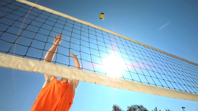 HD Super Slow-Mo: Volleyball Player Making A Jump Serve HD1080p: Low Angle Super Slow Motion shot of a professional beach volleyball player making a sky ball serve. Recorded at 1050 fps volleyball sport stock videos & royalty-free footage