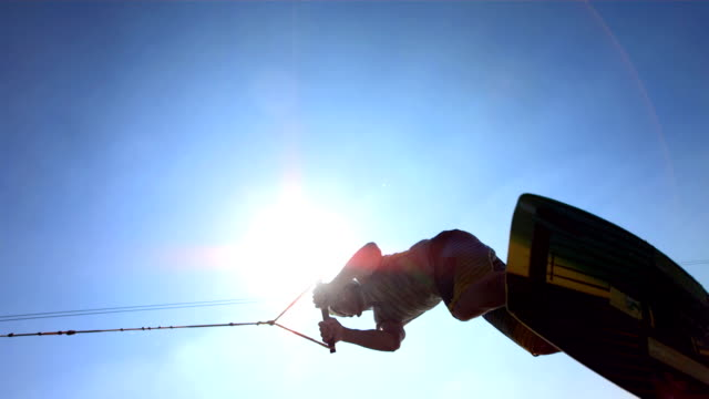 HD Super Slow-Mo: Wakeboarder Jumping Over The Camera video