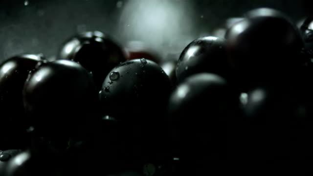 hd super slow-motion: gocce d'acqua che cadono di uve nere - uva video stock e b–roll
