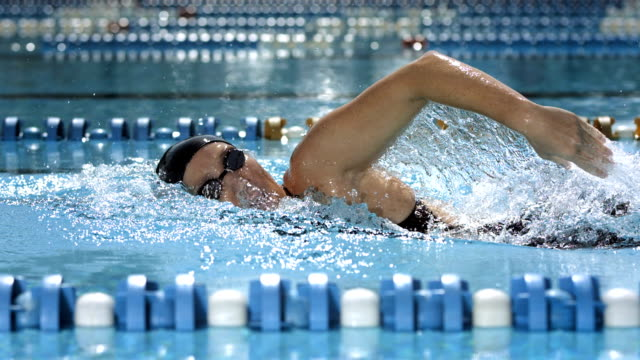 vídeos de stock, filmes e b-roll de super câmera hd-seg: mulher treino nado crawl frente - natação