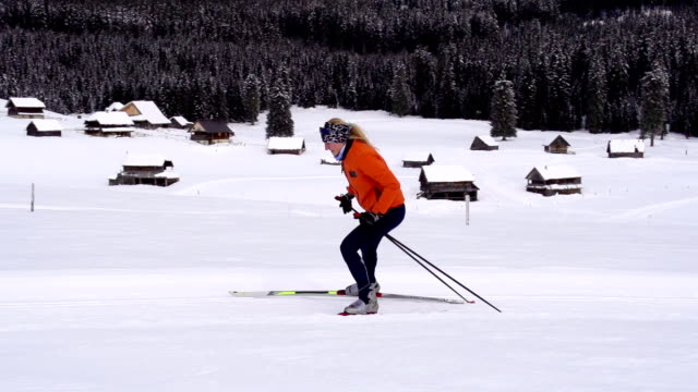 HD Super Slow-Mo: Women at cross country skiing video