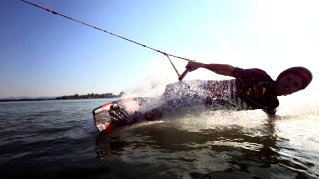 HD Super Slow-Mo: Young Man Enjoys Cable Wakeboarding video