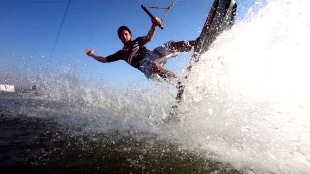 HD Super Slow-Mo: Young Man Posing While Wakeboarding video