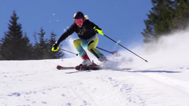 HD Super Slow-Mo: Young Woman Practicing Giant Slalom video