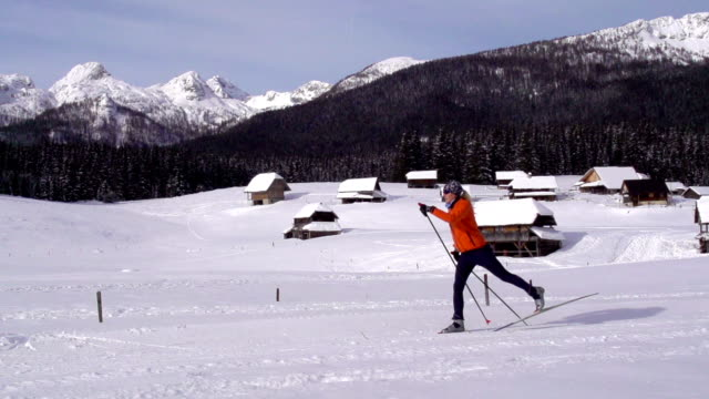 HD Super Slow-Mo: Young women at cross country skiing video