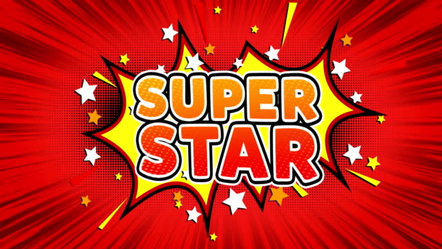 super star text pop art style comic expression. - badge video stock e b–roll