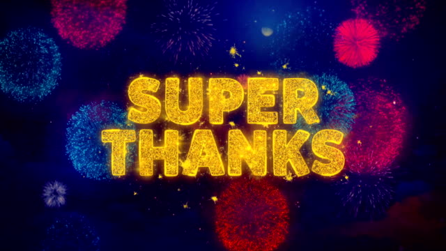 super thanks text on colorful firework explosion particles. - thank you background filmów i materiałów b-roll