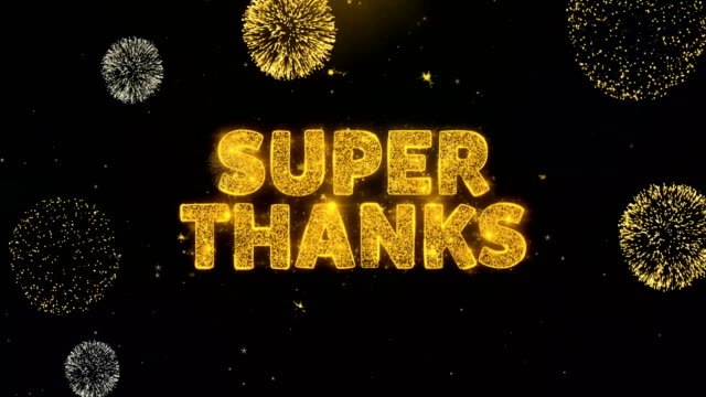 super thanks text on gold particles fireworks display. - thank you background filmów i materiałów b-roll