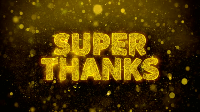 super thanks text on golden glitter shine particles animation. - thank you background filmów i materiałów b-roll