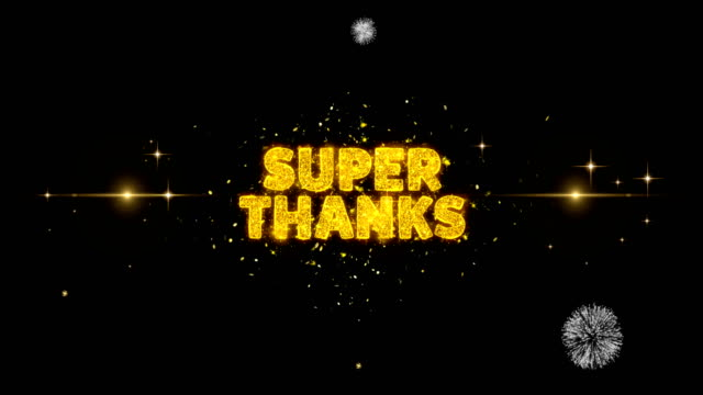 super thanks text reveal on glitter golden particles firework. - thank you background filmów i materiałów b-roll