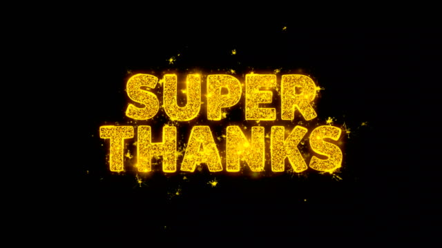 super thanks text sparks particles on black background. - thank you background filmów i materiałów b-roll