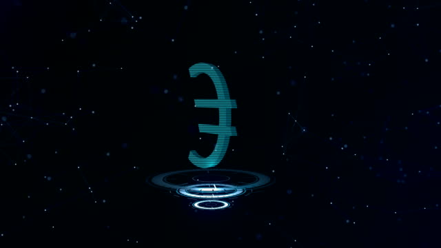 A superb 3d Euro sign. Space blue cyberspace backdrop with internet connections. Euro currency is on three virtual glowing circles, which appear firstly. Space background is moving as well.