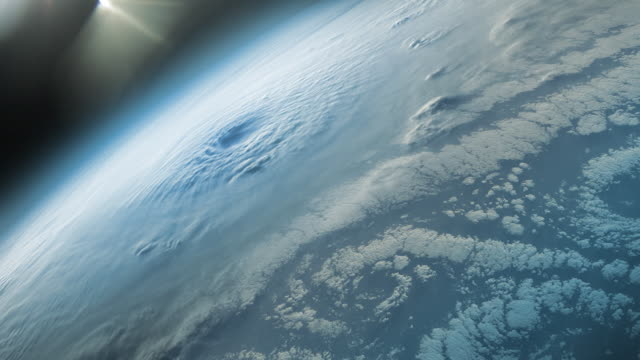 Supercell hurricane or tornado seen from space by satellite video
