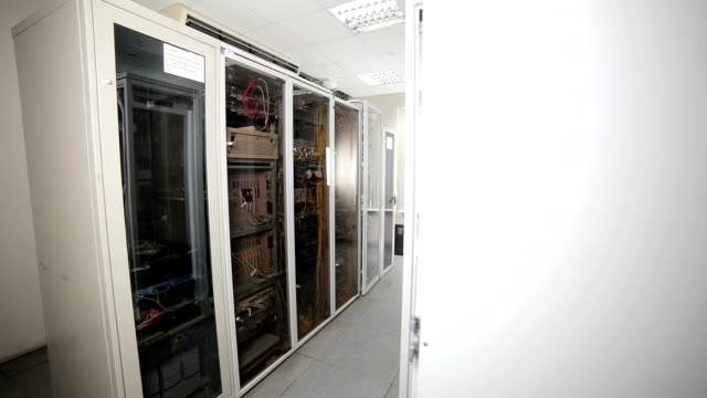 Supercomputer with cables and lamps video