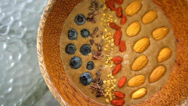 Superfood Healthy Smoothie Bowl. Top View video