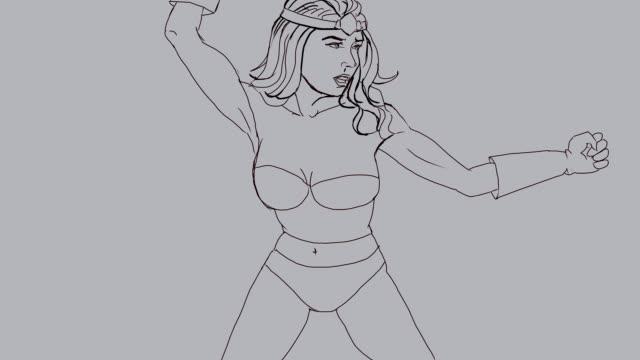 図面-inking supergirl - 拳 イラスト点の映像素材/bロール
