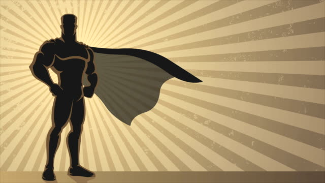 Superhero Background Loop Animation of superhero over grunge background with copy space. cape garment stock videos & royalty-free footage