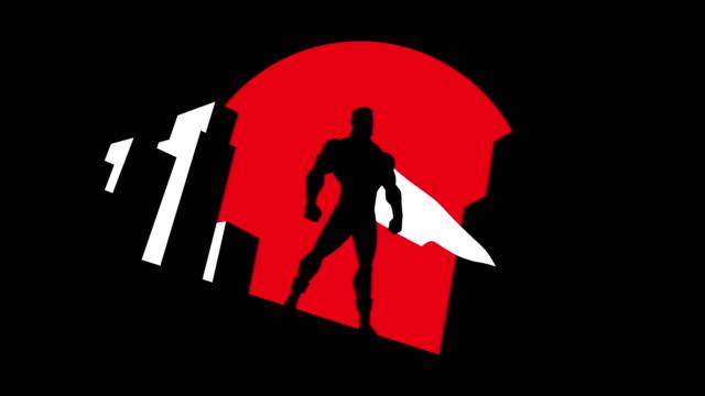 vídeos de stock e filmes b-roll de superhero background symbol animation - super hero