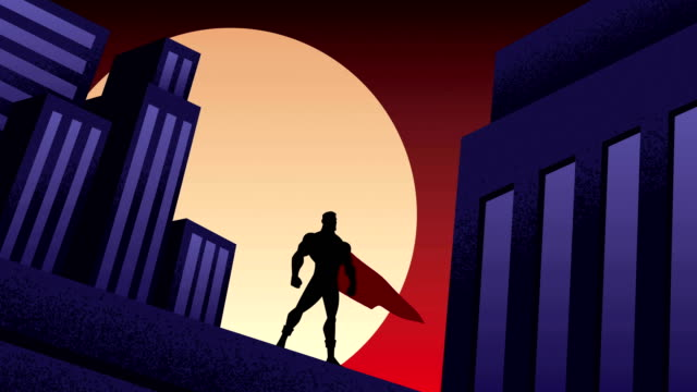 vídeos de stock e filmes b-roll de superhero city night animation - super hero