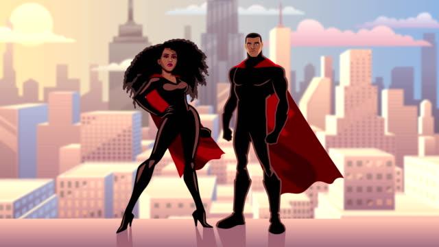 vídeos de stock e filmes b-roll de superhero couple black city day - super hero