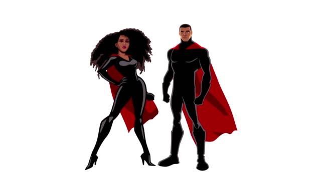 superhjälte par svart på vit - superhjälte isolated bildbanksvideor och videomaterial från bakom kulisserna