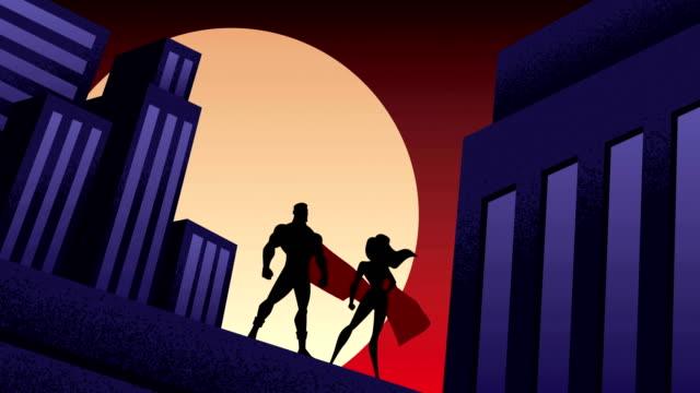 vídeos de stock e filmes b-roll de superhero couple city night animation - super hero