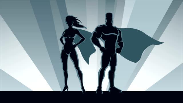 vídeos de stock e filmes b-roll de superhero couple loop - super hero