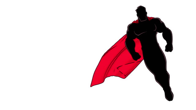 Superhero Flying on White Silhouette Seamless looping animation of powerful superhero looking down while soaring on white background. cape garment stock videos & royalty-free footage