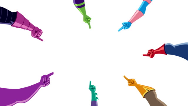 superhjälte händer med pekfingrar på vitt - superhjälte isolated bildbanksvideor och videomaterial från bakom kulisserna