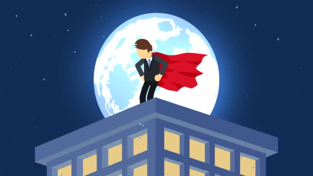 Superhero in moonlight city. Standing over skyscraper. Business symbol. Leadership and Challenge concept. Comic loop animation. Cartoon character loop illustration. Leadership, Professional, and Success. Superhero businessman standing in suit and cape. cape garment stock videos & royalty-free footage