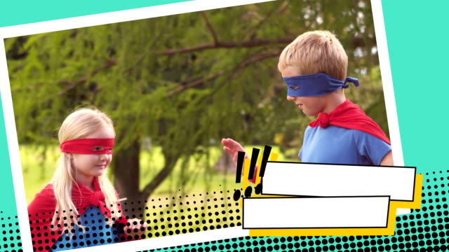 Superhero siblings high five