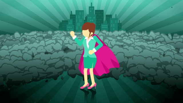 Superhero standing on city background. Near a cloud of dust. Business woman symbol. Leadership and Achievement concept. Comic loop animation. Superhero business woman standing in suit and cape. Cartoon character loop illustration. Leadership, Professional, and Success. cape garment stock videos & royalty-free footage