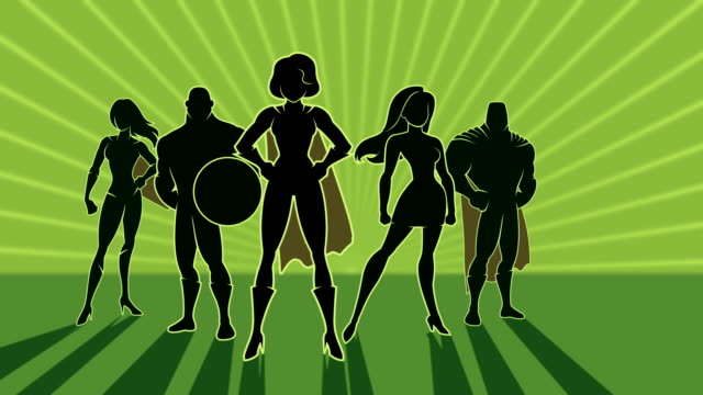 superhero team - potere femminile video stock e b–roll