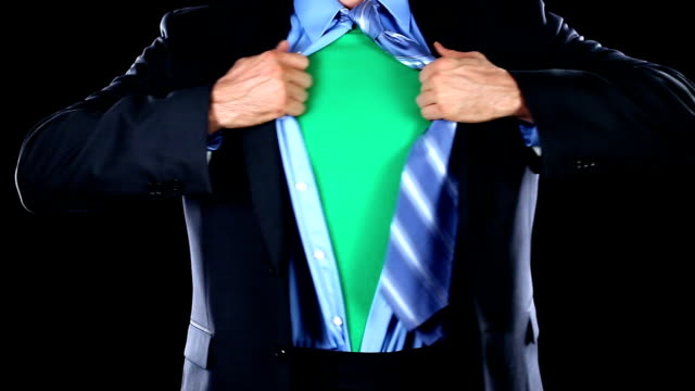 Superhero Tearing Shirt Open Revealing Green Chest for Your Logo video