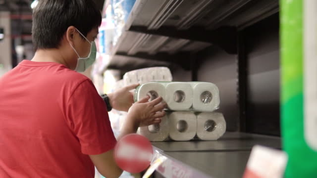 Supermarket runs low on stocks of toilet paper.