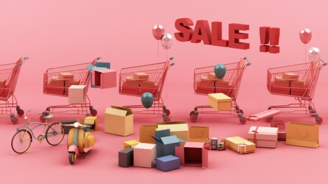 Supermarket shopping cart surrounding by giftbox with credit card on pink background and sales discount text 3d rendering