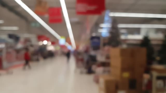 Supermarket store blur background with bokeh Supermarket store blur background with bokeh. Defocused background of real shopping mall shallow stock videos & royalty-free footage